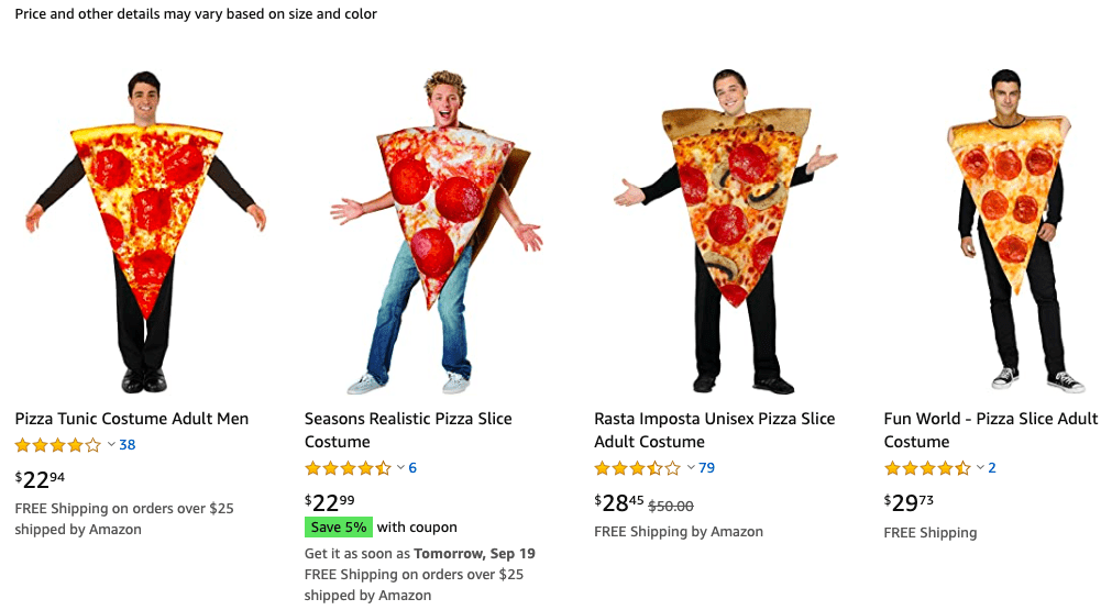Amazon adult pizza costumes